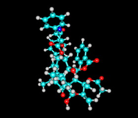 Paclitaxel molecule isolated on black