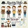 Hipster character with elements and icons - 72606753