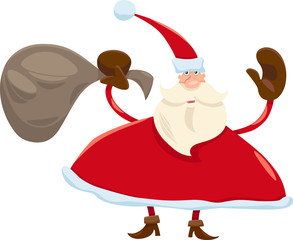 santa claus with sack cartoon