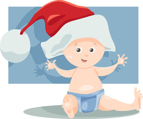 baby boy santa cartoon illustration