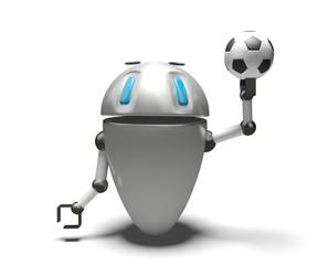 Robot con palla da calcio