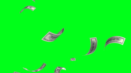 4k.Flying banknotes of dollars. Isolated over green alpha