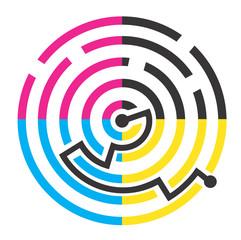 Labyrinth of print colors