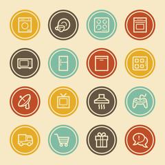 Home Appliances Web Icons, Color Circle Buttons