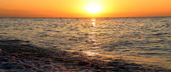 Beautiful sunrise on the beach, Malaga in Andalusia, Spain