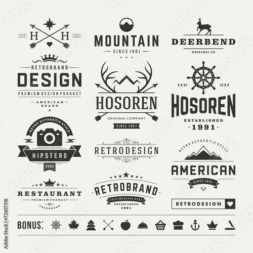 Plexiglas Hipster Hert Retro Vintage Insignias or Logotypes set