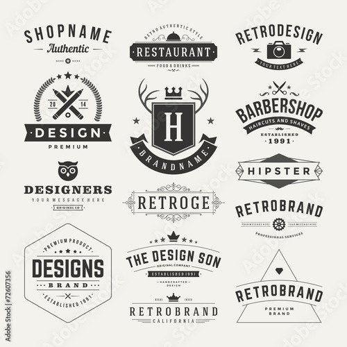 Fotobehang Hipster Hert Retro Vintage Insignias or Logotypes set vector design elements