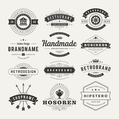 Retro Vintage Insignias or Logotypes set design elements