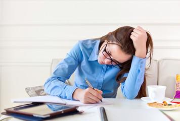 Student teen girl studying