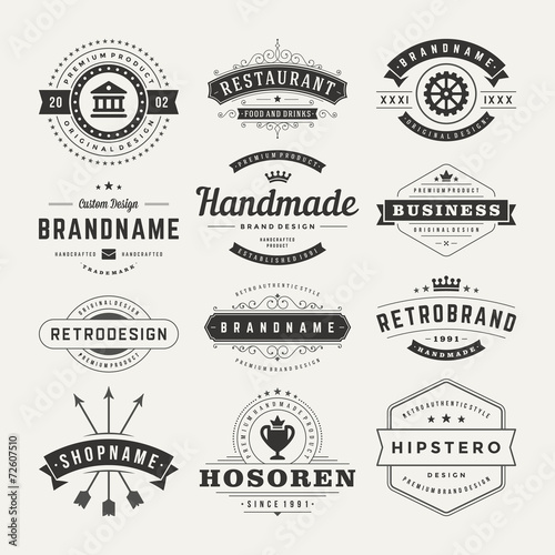 Retro Retro Vintage Insignias or Logotypes set design elements