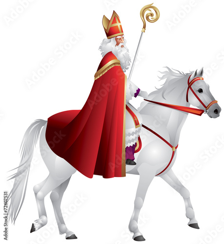 Heilige Nikolaus, Sinterklaas on the white horse - 72607531