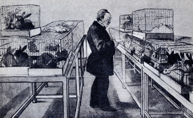 Louis Pasteur with his experimental animals 1884