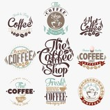 Fototapety Set Of Vintage Retro Coffee Labels