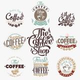 Set Of Vintage Retro Coffee Labels