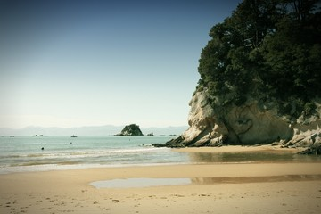 Beach in New Zealand - cross processed color tone