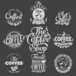 Set Of Vintage Retro Coffee Labels On Chalkboard