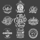 Fototapety Set Of Vintage Retro Coffee Labels On Chalkboard