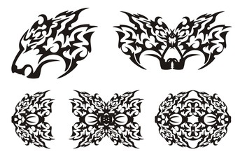 Predator head and elements in tribal style