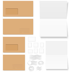 collection of envelopes with writing paper and post marks