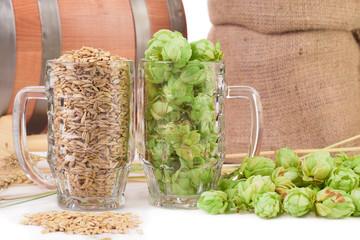 mugs with barley and hop