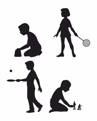 Four children set silhouettes