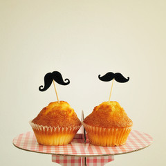 moustaches in cupcakes, with a retro effect
