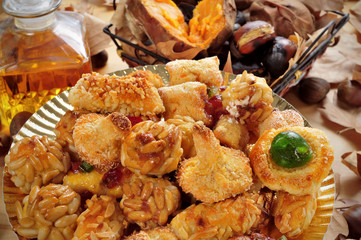 panellets, roasted chestnuts and sweet potatoes, and sweet wine,