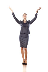 Beautiful business woman posing with a wide hands up