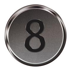 "Metal button black alphabet letter ""8""  isolated on white backgr"