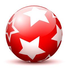 Weihnachtskugel, rot, Sterne, glänzend, Kugel, liegend, Ball, 3D