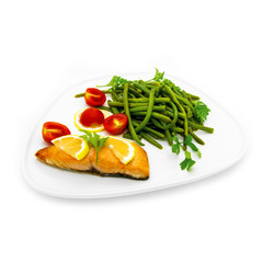 Salmon fish with green beans
