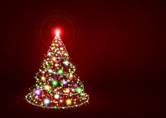 Abstrakter Weihnachtsbaum, rot, bunt, Christmas, Tree, Xmas, red