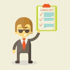 Happy businessman with checklist. All items are made . Success