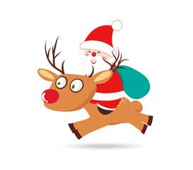 santa claus on deer