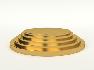 3d Generated gold pedestal isolated on white background