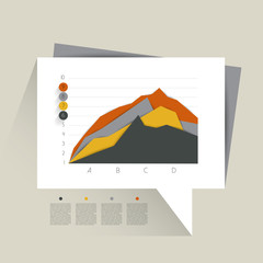 Example of business flat design graph. Infographics area chart.