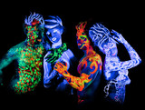 Four - Body art glowing in ultraviolet light poster