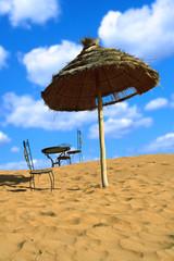 relaxing area on sand desert