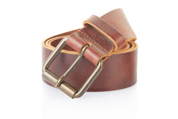 Brown leather belt rolled on white, clipping path