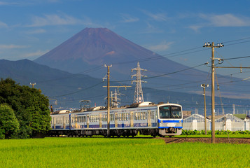 View of mountain Fuji with a train passing through green field