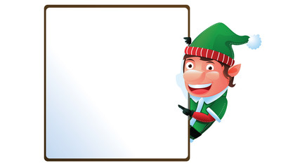 Elf with sign in Christmas