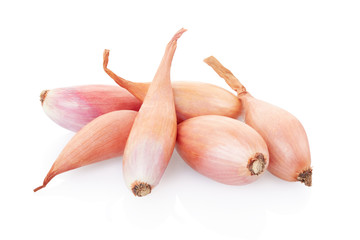 Shallots group on white, clipping path