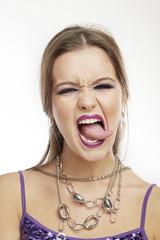 Woman Making Faces: Lick