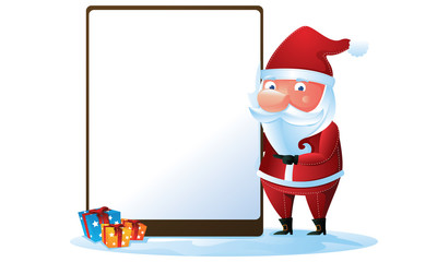 Santa with sign and gift box in Christmas 2