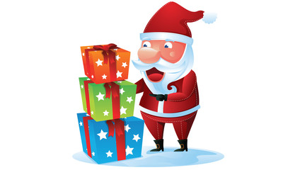 Santa with a pile of gift box in Christmas
