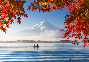 Mt. Fuji and Kawaguchiko lake with morning fog in autumn