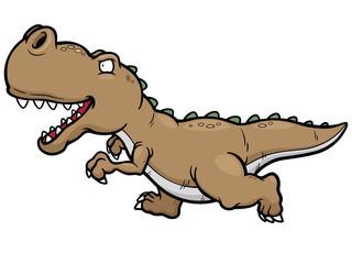 Vector illustration of cartoon dinosaur running