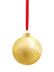 Shiny Gold Vector Bauble (christmas icon symbol)