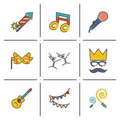 Gift, Party, Birthday Isolated line icons set modern trendy