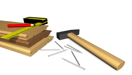 Tools and materials for covering of walls.